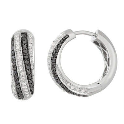1/2 CT. T.W. Multi Color Diamond Sterling Silver 15mm Hoop Earrings
