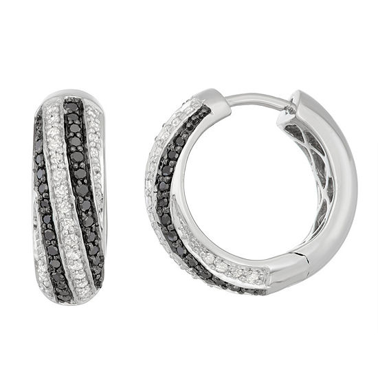 1/2 CT. T.W. Multi Color Diamond Sterling Silver 15mm Hoop Earrings