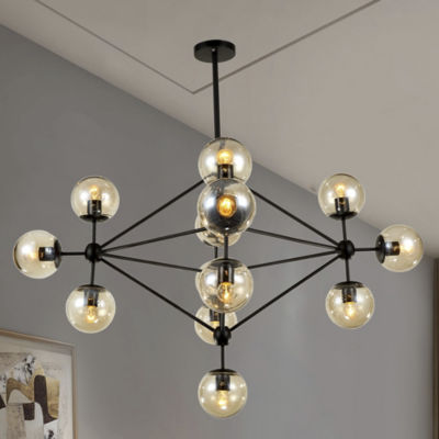 Enthen 15-light Orb Black Metal Chandelier Includes Edison Bulbs