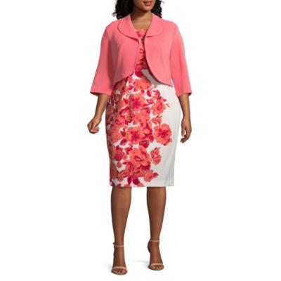 Maya Brooke Sleeveless Jacket Mid Length Dress - Plus