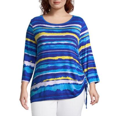 Lark Lane Must Have 3/4 Sleeve Stripe Blouse - Plus