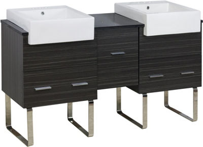 59.5-in. W 18-in. D Modern Plywood-Melamine VanityBase Set Only In Dawn Grey
