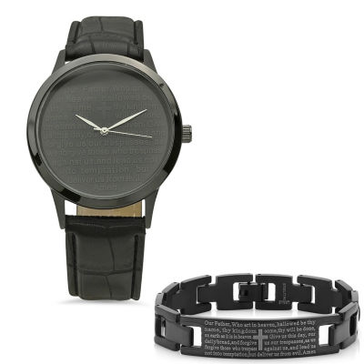 Steeltime Mens Lord's Prayer Black Bracelet Watch-998-019-W-613-150-B
