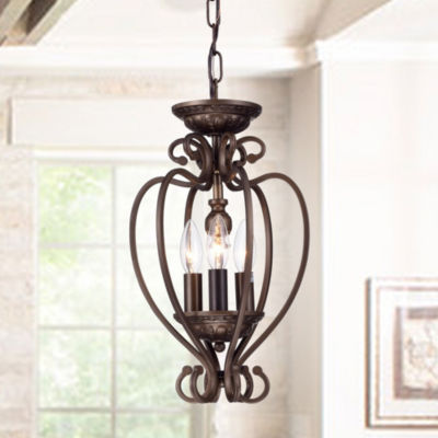 Tryoni Antique-bronze 3-light 10-inch Heart Cage Flush Mountable Pendant