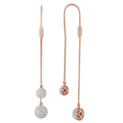 3/4 CT. T.W. White Diamond 14K Rose Gold Over Silver Drop Earrings