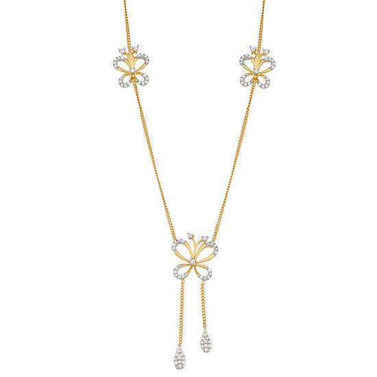Womens 1/2 CT. T.W. White Diamond 14K Gold Over Silver Sterling Silver Butterfly Pendant Necklace
