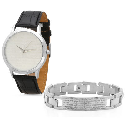 Steeltime Mens Lord's Prayer Silver Tone Bracelet Watch-998-010-W-613-149-B