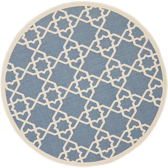 Safavieh Courtyard Collection Nicol Geometric Indoor/Outdoor Round Area Rug