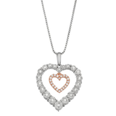 Womens 1/5 CT. T.W. White Diamond 14K Rose Gold Over Silver Sterling Silver Heart Pendant Necklace