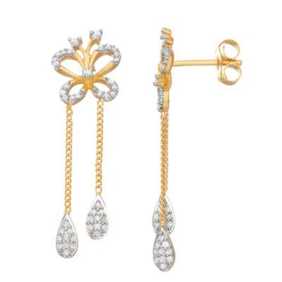 1/2 CT. T.W. White Diamond 14K Gold Over Silver Butterfly Drop Earrings
