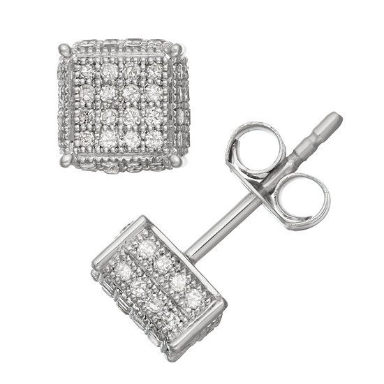 1/2 CT. T.W. White Diamond 15mm Stud Earrings