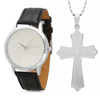 Steeltime Mens Lord's Prayer Silver Tone Bracelet Watch-998-010-W-618-480-P