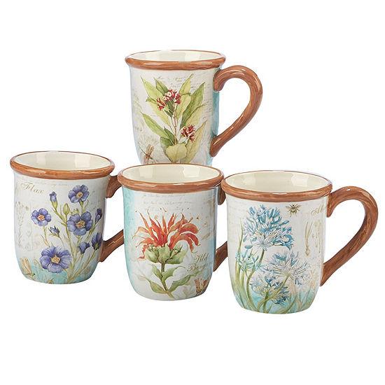Certified International Herb Blossoms 4-pc. Coffee Mug