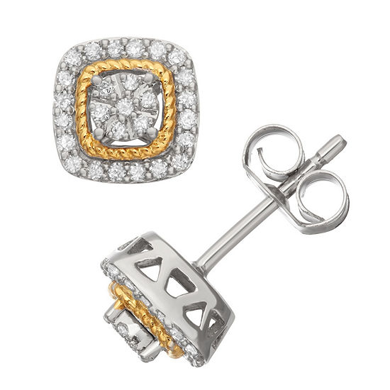 1/4 CT. T.W. White Diamond 14K Gold Over Silver Sterling Silver 22mm Stud Earrings