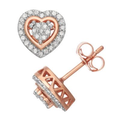 1/4 CT. T.W. White Diamond 14K Rose Gold Over Silver Sterling Silver 17mm Heart Stud Earrings