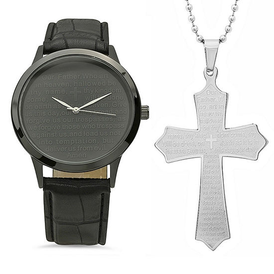 Steeltime Mens Lord's Prayer Black Strap Watch-998-019-W-618-480-P