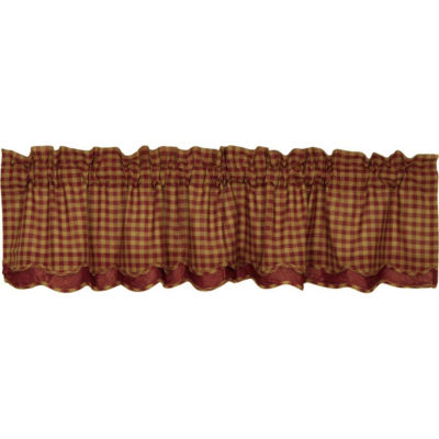 Primitive Window Burgundy Check Layered Scalloped Valance