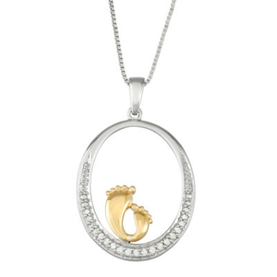 Womens 1/10 CT. T.W. White Diamond 14K Gold Over Silver Sterling Silver Pendant Necklace