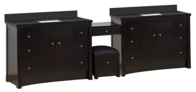 116.45-in. W Floor Mount Distressed Antique WalnutVanity Set For 3H4-in. Drilling Black Galaxy TopWhite UM Sink