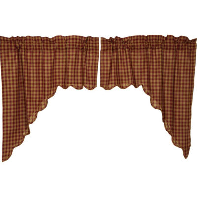 Primitive Window Burgundy Check Scalloped Swag Pair