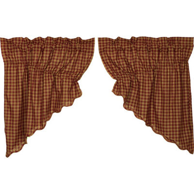 Primitive Window Burgundy Check Scalloped Prairie Swag Pair