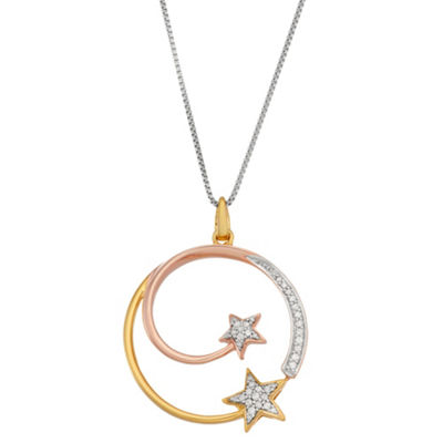 Womens 1/6 CT. T.W. White Diamond 14K Tri-Color Gold Over Silver Sterling Silver Star Pendant Necklace