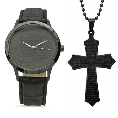 Steeltime Mens Lord's Prayer Black Strap Watch-998-019-W-618-579-P