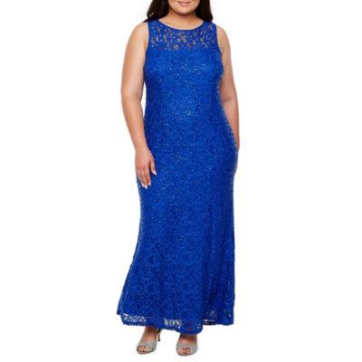 Blu Sage Sleeveless Evening Gown-Plus