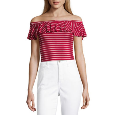 Cut And Paste Short Sleeve Straight Neck Knit Blouse-Juniors