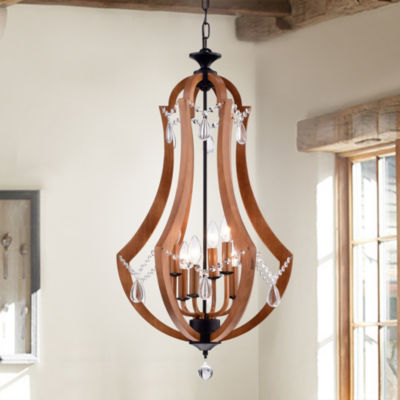 Yelant Antique Black Finish Wooden 18-inch 6-light Ornamental Pendant With Removable Crystals