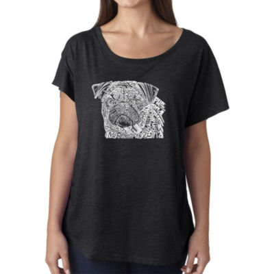 Los Angeles Pop Art Women's Loose Fit Dolman Cut Word Art Shirt - Pug Face