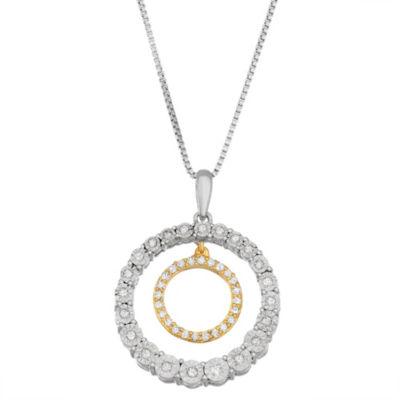 Womens 1/5 CT. T.W. White Diamond Pendant Necklace