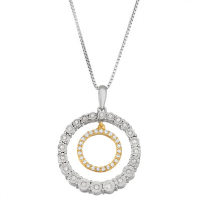 Womens 1/5 CT. T.W. White Diamond 14K Gold Over Silver Sterling Silver Pendant Necklace