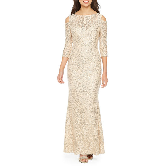 Blu Sage 3/4 Sleeve Cold Shoulder Sequin Lace Evening Gown