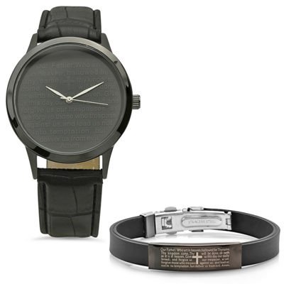 Steeltime Mens Lord's Prayer Black Bracelet Watch-998-019-W-711-092-B