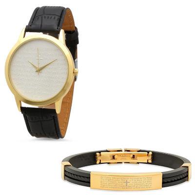 Steeltime Mens Lord's Prayer Gold Tone Bracelet Watch-998-011-W-711-145-B