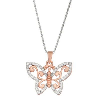 Womens 1/5 CT. T.W. White Diamond 14K Rose Gold Over Silver Sterling Silver Butterfly Pendant Necklace