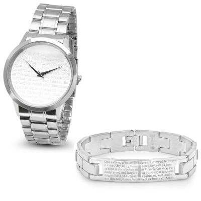 Steeltime Mens Lord's Prayer Silver Tone Bracelet Watch-B80-008-W-613-149-B