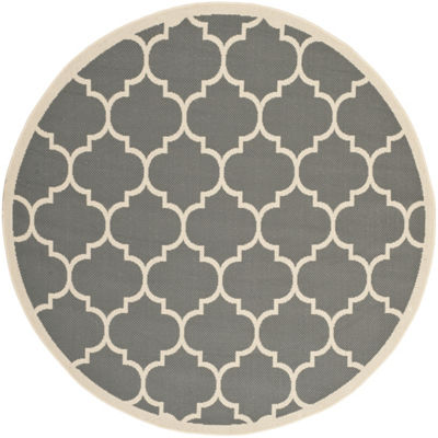 Safavieh Courtyard Collection Amias Geometric Indoor/Outdoor Round Area Rug