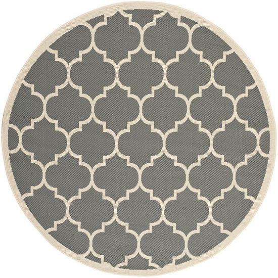 Safavieh Courtyard Collection Amias Geometric Indoor Outdoor Round Area Rug