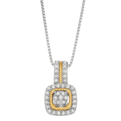 Womens 1/4 CT. T.W. White Diamond 14K Gold Over Silver Sterling Silver Pendant Necklace