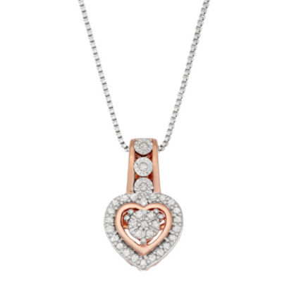 Womens 1/6 CT. T.W. White Diamond 14K Rose Gold Over Silver Sterling Silver Heart Pendant Necklace