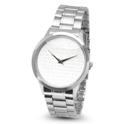 Steeltime Mens Lord's Prayer Silver Tone Bracelet Watch-B80-008-W
