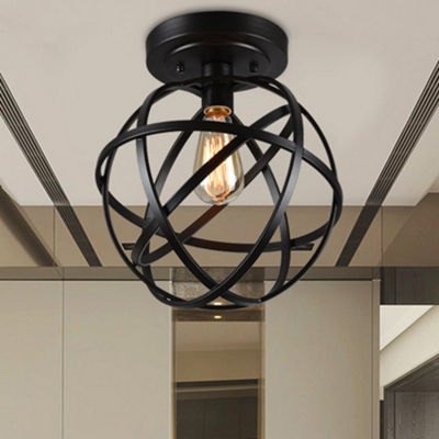Emrael 1-light Globe Ceiling Lamp Antique Black Includes Edison Bulb