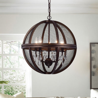 Manin 5-light Antique Bronze Metal/Crystal Caged Globe Pendant Light