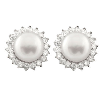 White Cultured Freshwater Pearl Sterling Silver Earring Jackets