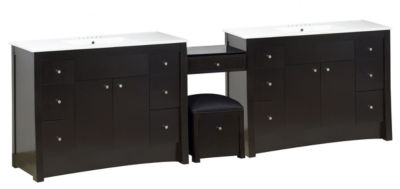 117.25-in. W Floor Mount Distressed Antique WalnutVanity Set For 3H4-in. Drilling