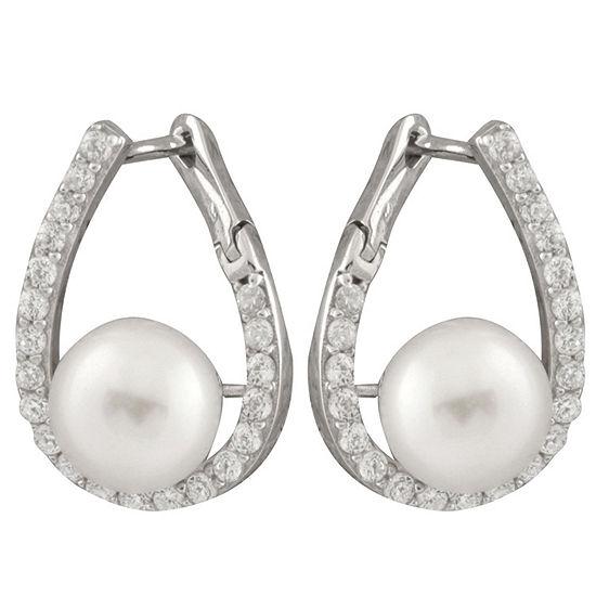 White Cultured Freshwater Pearl Sterling Silver 20mm Hoop Earrings
