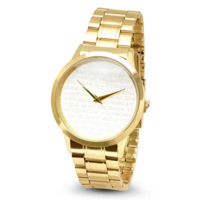 Steeltime Mens Lord's Prayer Gold Tone Bracelet Watch-B80-009-W