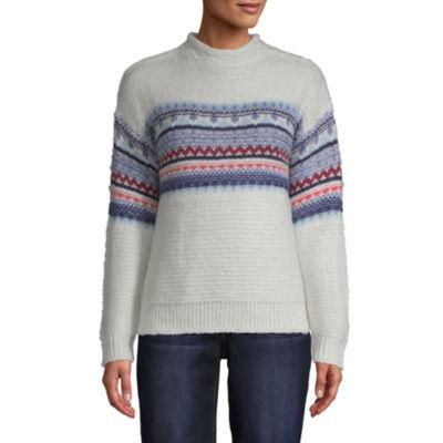 St. John's Bay Womens Mock Neck Long Sleeve Bordered Pullover Sweater